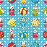 Nahtloses Muster des Kinderspielzeugs Gestaltungselement für Postkarte, Fahne, Flieger Stockfoto
