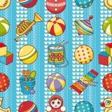 Nahtloses Muster des Kinderspielzeugs Vektorbild, Abbildung Lizenzfreies Stockfoto