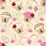 Nahtloses Muster des kleinen Kuchens Stockfoto