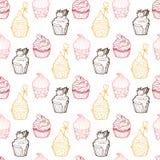 Nahtloses Muster des kleinen Kuchens Stockbild