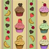 Nahtloses Muster des kleinen Kuchens Erdbeere, Schokoladenzitronenminzengeschmack Gelbe Türkisrosa-Braunfarbe Vektor Stockbild