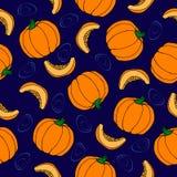 Nahtloses Muster des Kürbises Hintergrund für eine Einladungskarte oder einen Glückwunsch Reifes Gemüse Lizenzfreies Stockfoto
