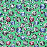 Nahtloses Muster des Kristalledelsteins Unerbittlicher karminroter Saphir des Diamanten entsteint Edelsteingold Glänzender Modetü Lizenzfreie Stockbilder