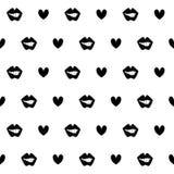 Nahtloses Muster des Kussmundschwarzen vektor abbildung