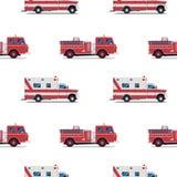 Nahtloses Muster des Löschfahrzeugs und des Krankenwagens Lizenzfreies Stockbild