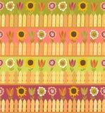 Nahtloses Muster des Landes mit Zaun und Blumen Lizenzfreie Stockfotografie
