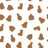 Nahtloses Muster des Lebkuchens Stockfoto