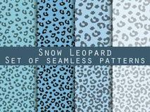 Nahtloses Muster des Leoparden Stellen Sie Schneeleopardmuster ein Lizenzfreies Stockfoto