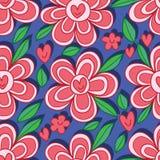 Nahtloses Muster des Liebesblumen-Lächelns Lizenzfreie Stockbilder