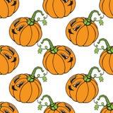 Nahtloses Muster des lustigen Gemüsekürbises der Karikatur orange Stockfotografie