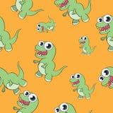Nahtloses Muster des lustigen Karikaturdinosauriers Stockbilder