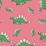 Nahtloses Muster des lustigen Karikaturdinosauriers Stockfotografie
