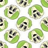 Nahtloses Muster des lustigen Karikaturgemüseblumenkohls Stockfoto