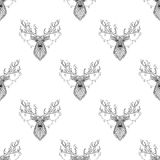 Nahtloses Muster des magischen Rens in zentangle Art Lizenzfreie Stockfotografie