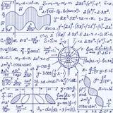 Nahtloses Muster des Mathevektors mit Wissenschaftszeichnungen, Aufgabenlösungen, Pläne, Zahlen, Formeln, handgeschrieben auf ein lizenzfreie abbildung