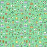 Nahtloses Muster des mehrfarbigen großen Entwurfs des Sommerstrandes (Grün) Lizenzfreie Stockbilder