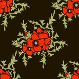 Nahtloses Muster des Mohnblumenblumenhintergrundes Stockfoto