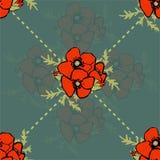 Nahtloses Muster des Mohnblumenblumenhintergrundes Stockfotos