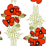 Nahtloses Muster des Mohnblumenblumenhintergrundes Stockfotografie
