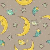 Nahtloses Muster des Mondes und der Sterne Lizenzfreies Stockbild