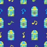 Nahtloses Muster des Musikautomaten auf blauem Hintergrund Stockbild