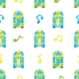 Nahtloses Muster des Musikautomaten auf weißem Hintergrund Lizenzfreies Stockfoto