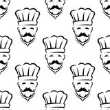 Nahtloses Muster des Mustached Chefs Stockfoto