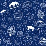 Nahtloses Muster des Nachtischs mit Weihnachtselementen Linie Kunst Lizenzfreie Stockfotos