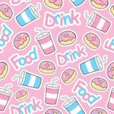 Nahtloses Muster des netten Donuts mit alkoholfreiem Getränk auf rosa Hintergrund Lizenzfreie Stockfotografie