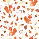 Nahtloses Muster des netten Herbstes mit Eichhörnchen Lizenzfreie Stockfotografie