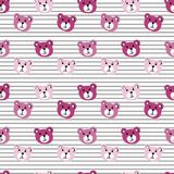 Nahtloses Muster des netten Karikatur-Bärn-Gesichtes auf weißem gestreiftem Hintergrund Stockbilder