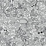 Nahtloses Muster des netten Karikaturgekritzelhippies. Stockbilder