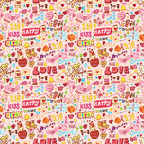 Nahtloses Muster des netten Liebeselements Stockfotografie