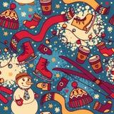 Nahtloses Muster des netten Winters mit Schneemann und Ski Stockbilder