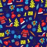 Nahtloses Muster des neuen Jahres auf dem blauen Hintergrund Stockfotos