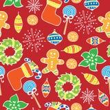Nahtloses Muster des neuen Jahres auf dem roten Hintergrund Stockfotografie