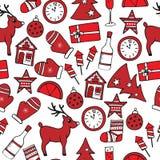 Nahtloses Muster des neuen Jahres in den roten und weißen Farben Lizenzfreie Stockbilder