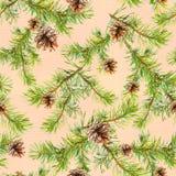 Nahtloses Muster des neuen Jahres mit Niederlassungen des Weihnachtsbaums Lizenzfreie Abbildung