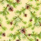 Nahtloses Muster des neuen Jahres mit Niederlassungen des Weihnachtsbaums Stock Abbildung