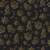Nahtloses Muster des neuen Jahres und des Weihnachten Luxusgoldmit Sternen, Bälle, noel, Mond Grußkarte, Einladung, Flieger stockfotos
