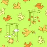 Nahtloses Muster des neugeborenen Themas mit Fliegenvögeln lizenzfreie abbildung