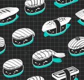 Nahtloses Muster des Nigiri-Sushi-Vektors Japanische Abdeckhaube in der Weinleseskizzenart Lizenzfreie Stockbilder