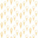 Nahtloses Muster des orange Eiscreme-Vektors Sommerkollektion Stockbilder