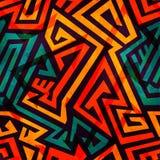 Nahtloses Muster des orange Labyrinths mit Schmutzeffekt Stockbilder