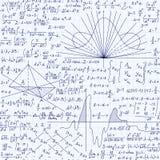 Nahtloses Muster des pädagogischen Vektors Mathe mit Formeln, Gleichungen und geometrische Zahlen, handgeschrieben auf Gitterschr vektor abbildung