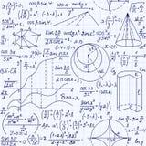 Nahtloses Muster des pädagogischen Vektors Mathe mit handgeschriebenen Formeln, Zahlen und Gleichungen vektor abbildung