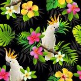 Nahtloses Muster des Papageienkakadus auf den tropischen Niederlassungen mit Blättern und Blumen auf Dunkelheit Hand gezeichneter Stockfotos