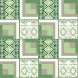 Nahtloses Muster des Patchworks mit geometrischem Elementhintergrund Stockfotografie