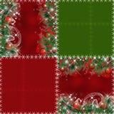 Nahtloses Muster des Patchworks mit Weihnachtsbaum und Bälle backgro Lizenzfreie Stockfotografie