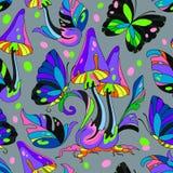 Nahtloses Muster des Pilzes und des Schmetterlinges Stockfotografie